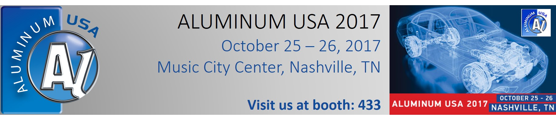 Aluminum USA 2017, October 25 – 26, Nashville TN